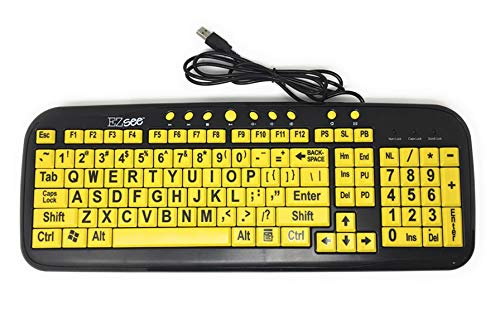 New and Improved: EZSee by DC - Large Print Computer Keyboard USB Wired (Yellow Keys with Black Jumbo Oversized Print Letters) for Visually Impaired Individuals, Low Vision, or Low Light for Seniors and People with Bad Vision! Imposing Vivid Black Over-sized Letters on Yellow Background Tested to Deliver the BEST CONTRAST for the Visually Challenged Persons ()