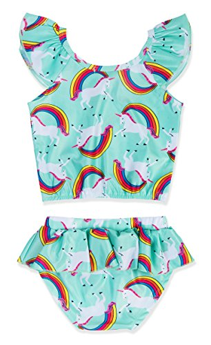 KABETY Girls Rainbow Unicorn Swimsuit Two Pieces Swimwear Bathing Suit Bikinis (Green, 3T) by KABETY (Image #1)