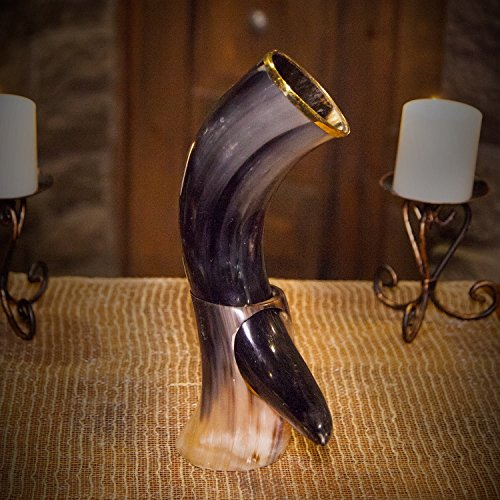 Genuine Ox-Horn Viking Drinking Horn - w/Horn Stand and Burlap Gift Sack - 12'' Horn by Norse Tradesman (Image #4)