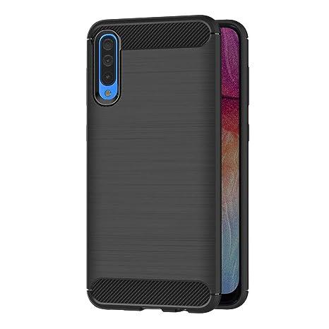 AICEK Funda Samsung Galaxy A50, Negro Silicona Fundas para Samsung Galaxy A50 Carcasa Samsung Galaxy A50 Fibra de Carbono Funda Case (6,4 Pulgadas)
