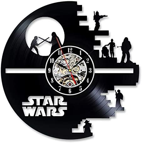 Vinyl Evolution Star Wars Death Star Darth Vader Princess Leia Master Yoda Movie Character Vinyl Record Design Wall Clock