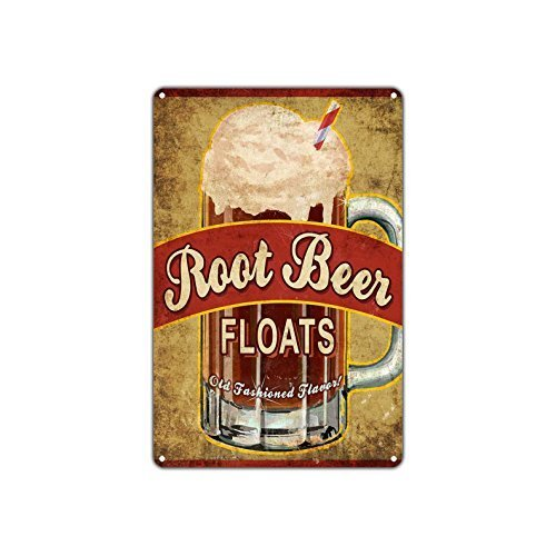 Vintage Root Beer Floats Old Fashioned Flavor Metal Wall Decor Art Aluminum Tin Sign Gift ()