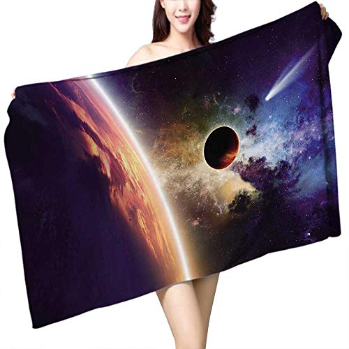 UHOO2018 Baby Bath Towel Galaxy E h Comet Approaches Planet Scientific FactsRealities in Solar System World Scene Print Wrap Towels W 10'' x L 39.5'' by UHOO2018