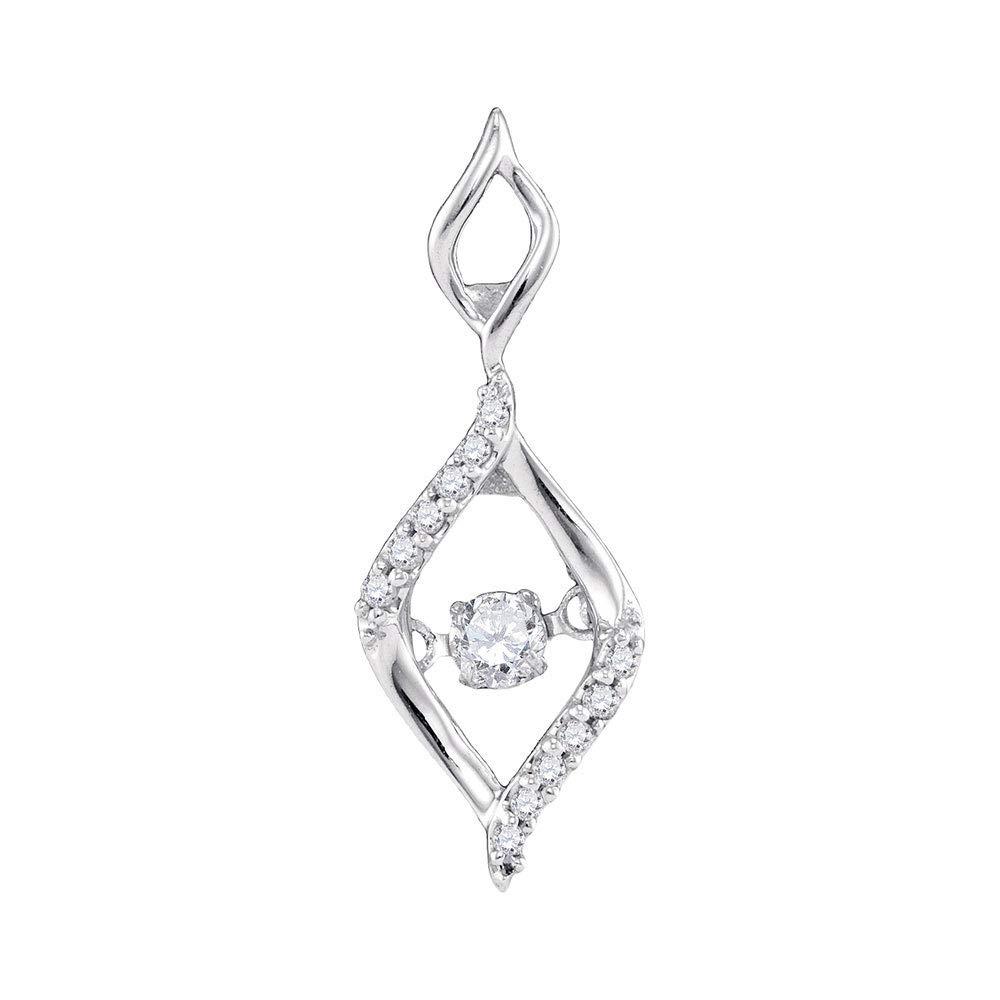 Bijoux par Lux pour femme Or blanc 10carats Diamant rond Moving Twinkle ovale Mode Pendentif 1/6CT TW