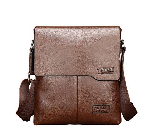 Teammao Leather Shoulder Bag Retro Messenger Bag Crossbody Bag Satchel Bag Business Laptop Bag Working Bag Briefcase Handbag for Men. (Brown) (Flap Pocket Briefcase)