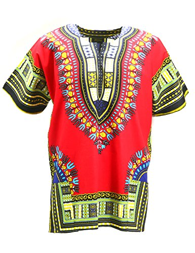 KlubKool Dashiki Shirt Tribal African Caftan Boho Unisex Top Shirt (Red,Large) -