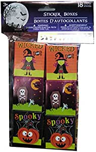 Halloween Sticker Party Favor Boxes - 18/pkg. by Greenbrier Skull and Crossbones Tombstone, Party Pumpkin, Wicked Witch, Raven, and More Halloween Themed Stickers