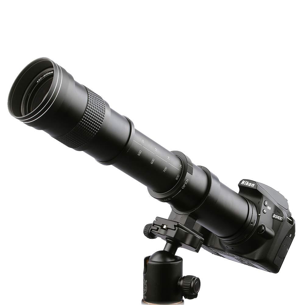 Lightdow 420-800mm f/8.3 Manual Zoom Telephoto Lens + T-Mount for Nikon D5500 D3300 D3200 D5300 D3400 D7200 D750 D3500 D7500 D500 D600 D610 D700 D800 D810 D850 D3100 D5100 D5200 D5600 D7000 D7100