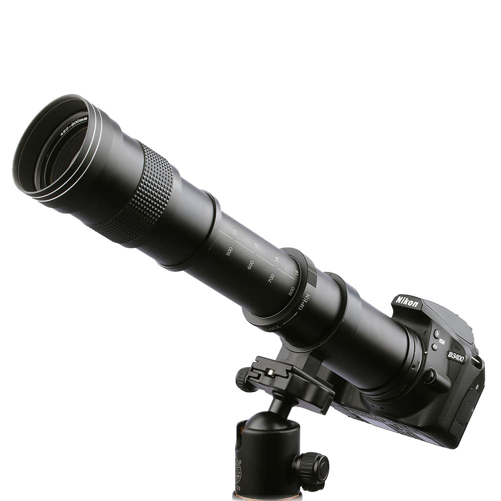 Lightdow 420-800mm f/8.3 Manual Zoom Telephoto Lens + T-Mount for Nikon D5500 D3300 D3200 D5300 D3400 D7200 D750 D3500 D7500 D500 D600 D700 D800 D810 D850 D3100 D5100 D5200 D7000 D7100 Camera Lenses by Lightdow