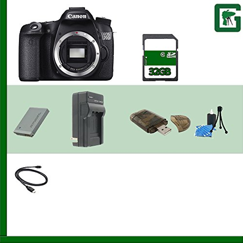 Canon EOS 70D DSLR Camera (Body Only) 8469B002 + 32GB SDHC Class 10 Memory Card + Extra LP-E6 Battery + Deluxe Soft Large Camera and Video Case Bag + Compact AC/DC Charger for LP-E6 Battery + HDMI Cable + Memory Wallet + Table Top Tripod, Lens Cleaning Kit, LCD Protector + USB SDHC Reader