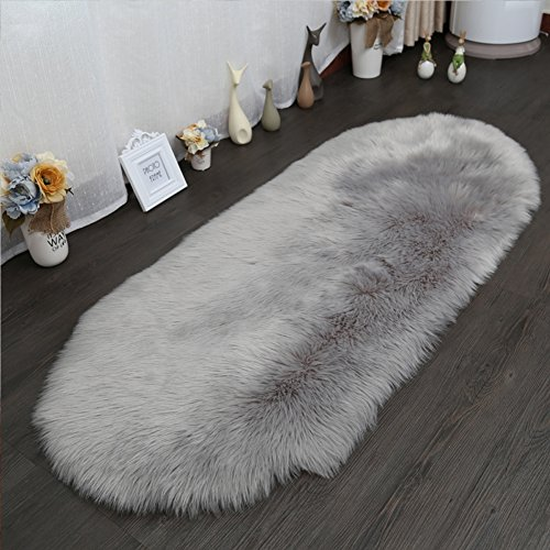 LOCHAS Stylish Ultra Soft Silky Fluffy Shag Faux Sheepskin Area Rug,Rugs for Living Room Bedroom Nursery Floor,32