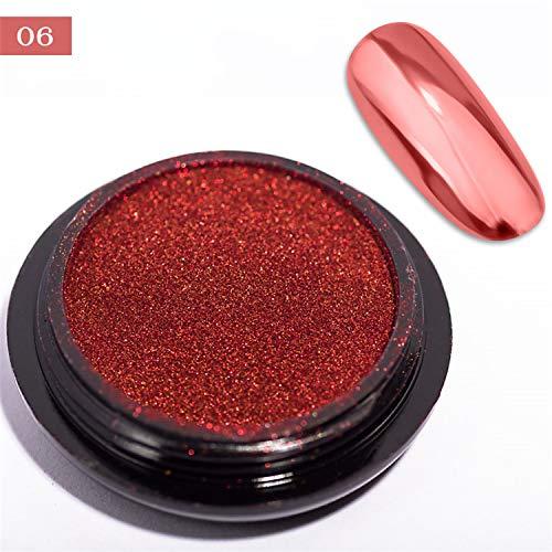 0.5G/Jar Rub Nail Mirror Powder 7 Colors Metallic Effect Chrome Nail Art Glitter UV Gel Nail Polish Decoration Pigment 06 - Sconces Art Red Color