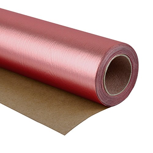 WRAPAHOLIC Gift Wrapping Paper Roll - Wood Grain Basics Glossy Gold Rose for Birthday, Holiday, Wedding, Wrap - 30 inch x 16.5 feet