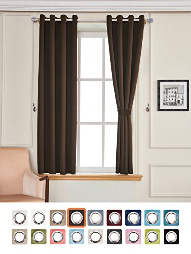 Blackout Grommet Curtain Set, Thermal Insulated & Noise Blocking Window Drapery for Bedroom/Living Room, Coffee Color, Set of 2, W52 x L63