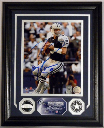 2007 Highland Mint - Tony Romo Autographed Photo Mint with two Silver Coins - Dallas Cowboys Superstar Quarterback - Limited Edtiion - Serial #d to 99! ()