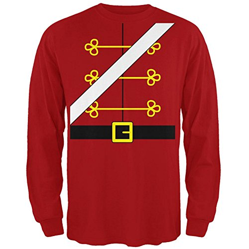 Christmas Toy Soldier Nutcracker Costume Mens Long Sleeve T Shirt Red LG