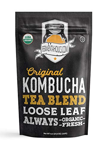 Fermentaholics Perfectly Balanced Organic Loose Leaf Kombucha Tea Blend - Half Pound - Makes 22 Gallons of Kombucha (Best Tea For Kombucha Brewing)