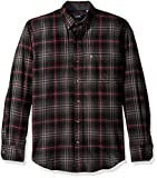 IZOD Men's Stratton Long Sleeve Button Down Plaid Flannel Shirt, Black, X-Large