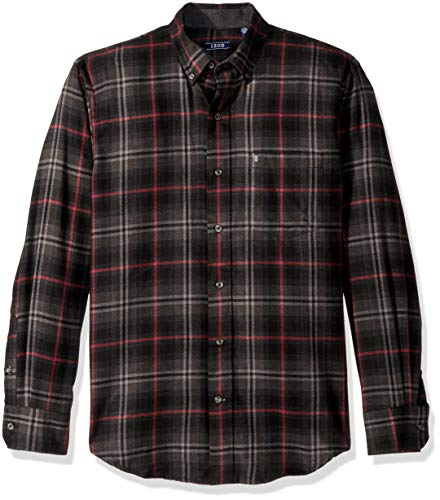 IZOD Men's Stratton Long Sleeve Button Down Plaid Flannel Shirt, Black, Small