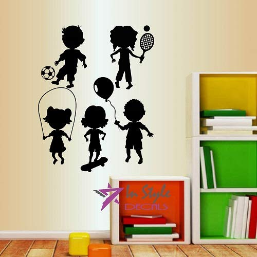 Wall Vinyl Decal Home Decor Art Sticker Cute Little Kids Dancings Playing Nursery Bedroom Play Room Room Removable Stylish Mural Unique Design