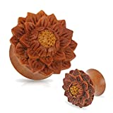 0 gauge plugs lotus - Pair of Organic Jackfruit Lotus Flower Wood Hand Carved Ear Plugs Gauges 0g 00g 1/2 5/8 3/4 (0g)