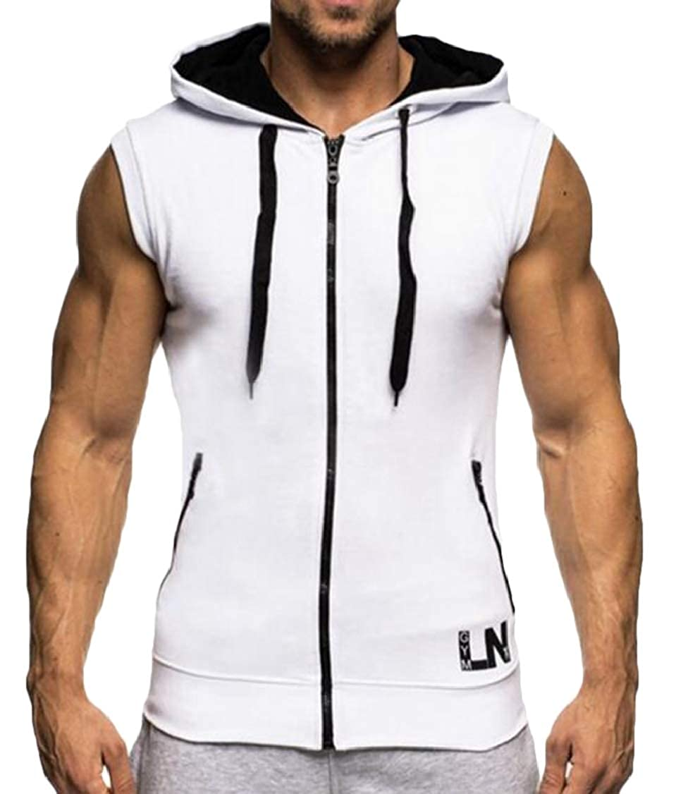S-Fly Mens Hooded Sport Plus Size Training Fitness Sleeveless Vest
