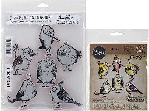 (Tim Holtz Bird Crazy Cling Rubber Stamp and Sizzix Thinlits Dies)