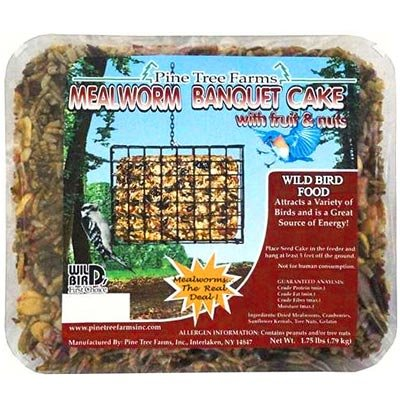 Almond Suet Cake - Case Pack of Pine Tree Farms Mealworm Banquet Seed Cakes, 1.75 lbs. each