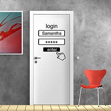 Colle Stickerkoenig Stickers Sticker mural Porte sur /«Login avec nom avec D/ésir Nom satin/é dans 6/couleurs et tailles 27 40 x 30 cm PVC noir