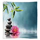 Super Soft Throw Blanket Custom Design Cozy Fleece Blanket,Spa Decor,Spa Theme Picture with Lily Lotus Flower and Rocks Yoga Style Purifying Your Soul Theme,Blue Pink Green,Perfect for Couch Sofa or B