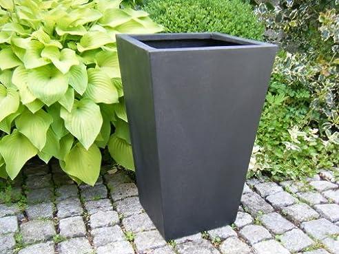 Blumenkübel L34x B34x H56cm aus Fiberglas in schwarz-anthrazit ...
