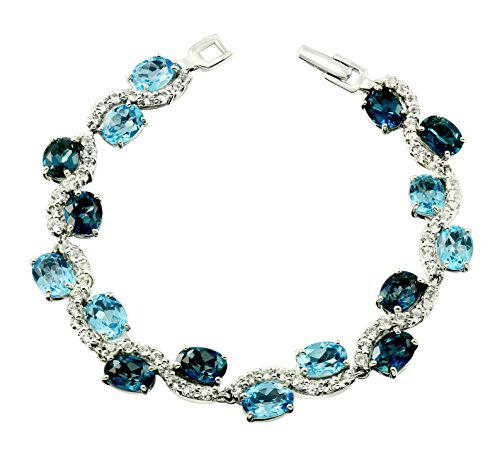 28.32 Carats London Blue Topaz Rhodium-Plated 925 Sterling Silver Statement Bracelet by RB Gems
