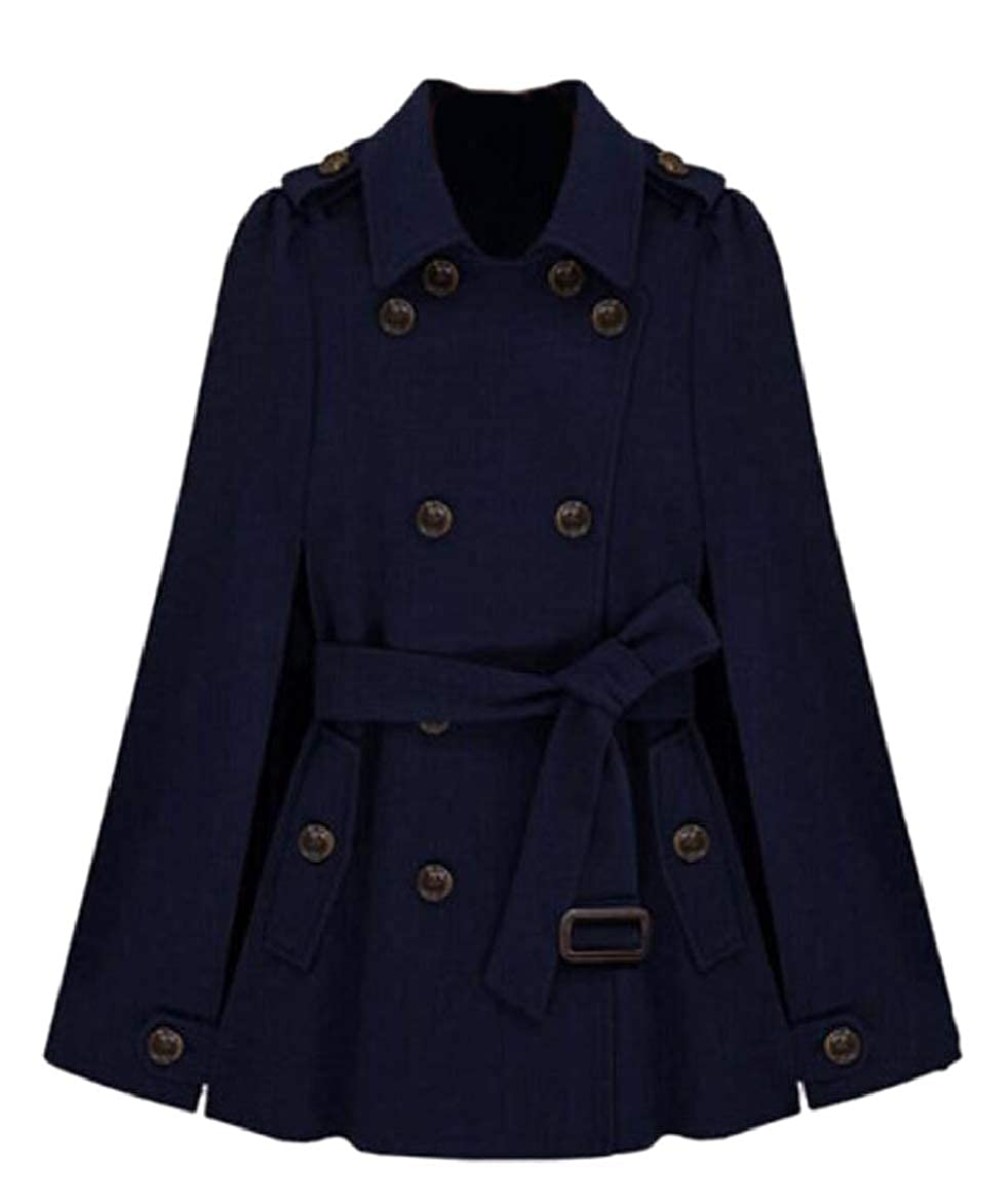 Dark bluee pujinggeCA Women Casual Outwear Cape Wool Blended Double Breasted Belt Pea Coat
