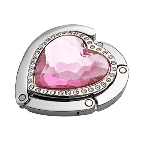 Reizteko Purse Hook, Rhinestone Heart Love Foldable Handbag Purse Hanger Hook Holder for Tables (Pink)