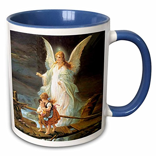 3dRose 4668_6 Guardian Angel - Two Tone Blue Mug 11 oz Multicolor