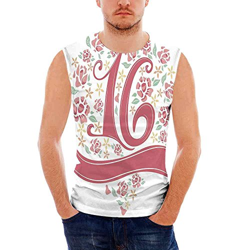 iPrint Mens Workwear 16th Birthday Decorations Ultra Cotton Tank,Floral Sweet Sixteen