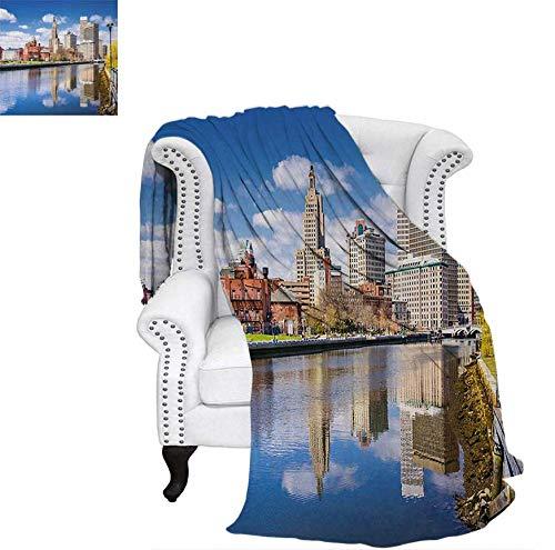 "Weave Pattern Blanket Providence Rhode Island Riverfront Spring Season Water Reflection Buildings Custom Design Cozy Flannel Blanket 50""x30"" Multicolor"