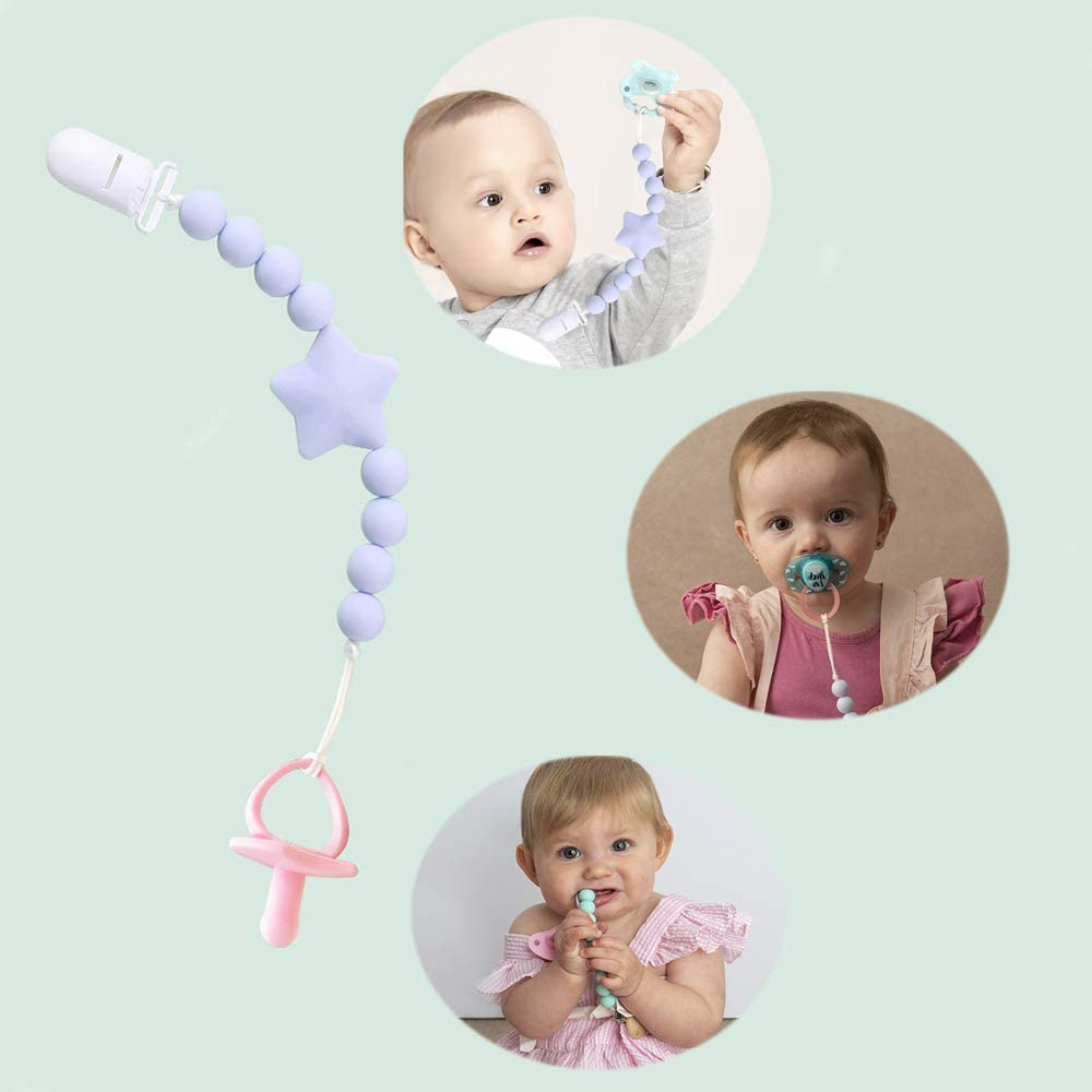 Gray and Pink YUEMING 2 Pcs Baby Dummy Clips,BPA Free Baby Teether Soother Pacifier Chain,Unisex Holder Strap Soother Clips Silicone Beads Chain for Baby Gift Set