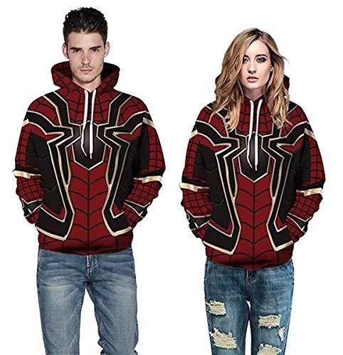 2019 Men Women Avengers Infinity War Spiderman Hoodie Iron Spider-Man Coat Jacket Cosplay Costume Novelty Sweatshirts Red