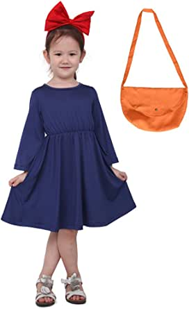 miccostumes Kids Delivery Service Witch Cosplay Dress with Bag for Little Girl