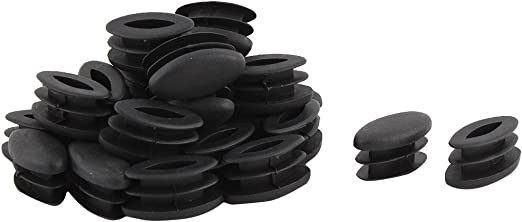 Table Feet Plastic Oval Design Tube Pipe Insert End Cap Black 15 x 30mm 20 PCS