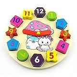 Colorful cartoon digital geometry clock wooden toy