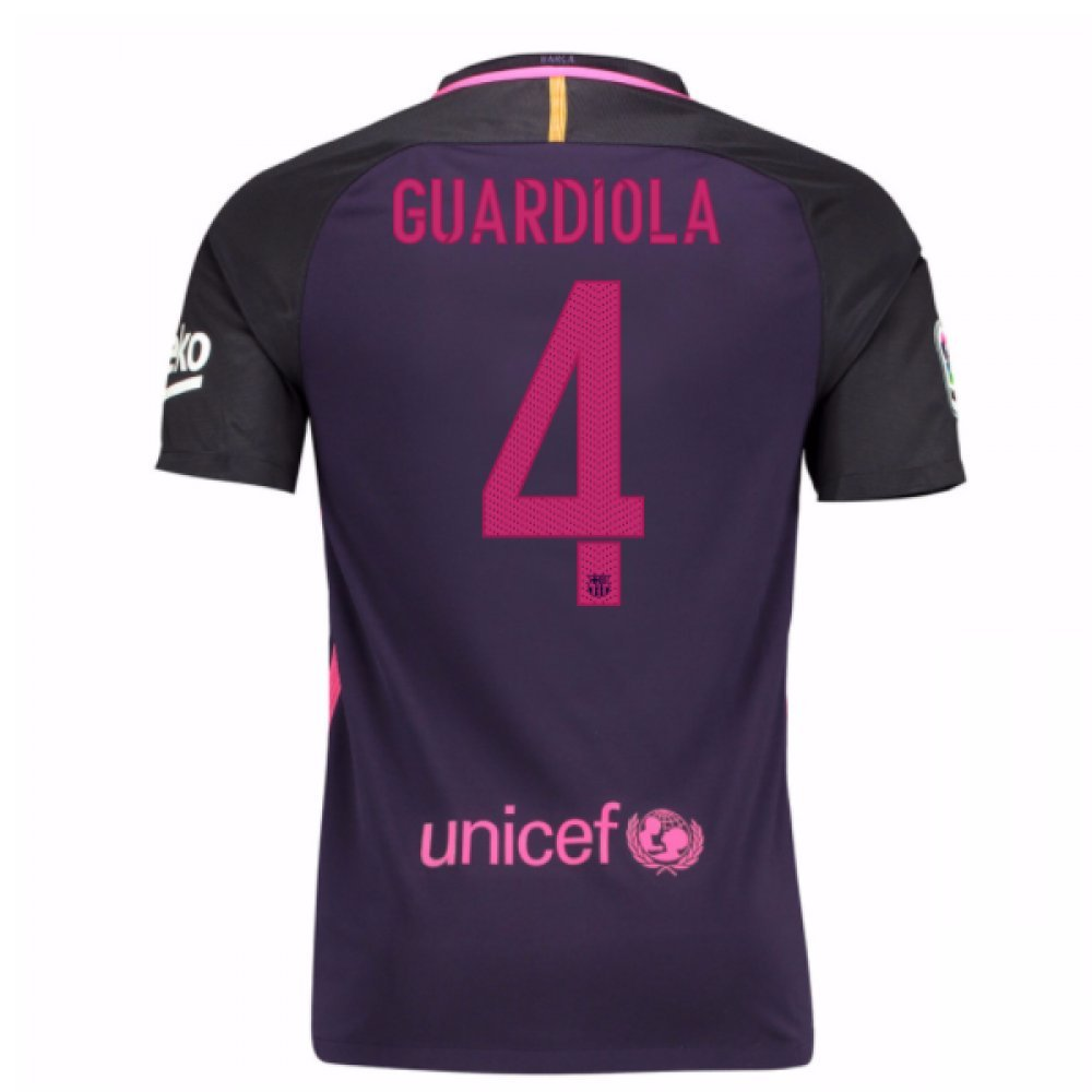 2016-17 Barcelona With Sponsor Away Shirt (Kids) (Guardiola 4) B01M8N3CPY