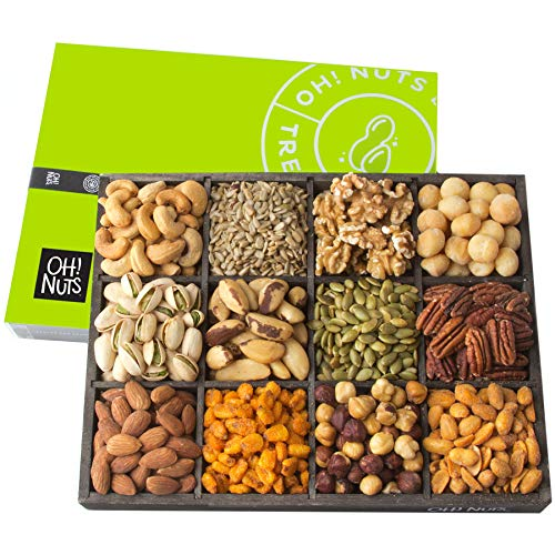Oh! Nuts 12 Variety Mixed Nut Gift Basket, Holiday Freshly Roasted Healthy Gourmet Snack Gifts| Premium Wood Tray | Prime Christmas Food Baskets for Men & Women, Fathers & Mother's Day Unique Idea -