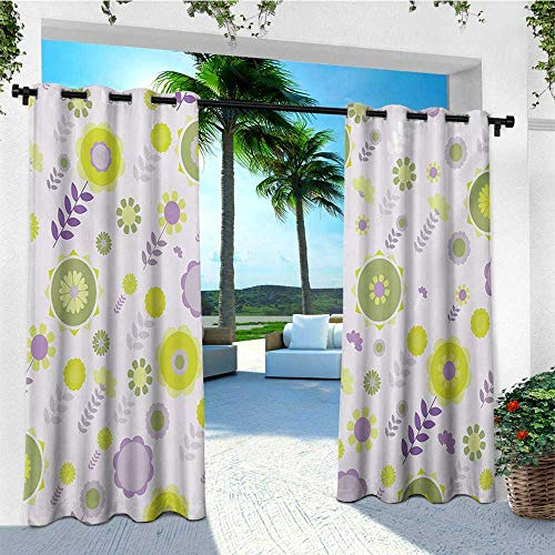 - leinuoyi Floral, Outdoor Curtain Extra Wide, Funky Flowers Pattern Nature Essence Beauty Blossoms Spring Image, for Balcony W120 x L108 Inch Lilac Apple and Olive Green