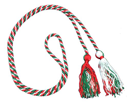Three-Color Braided Honor Graduation Cords (Red/Green/White-Blocked Tassel)