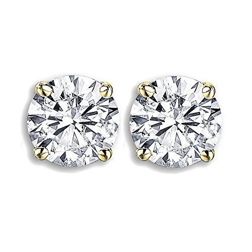 (Dazzlingrock Collection 3.00 Carat (ctw) 14K Round Cut Moissanite Ladies Stud Earrings, Yellow Gold)