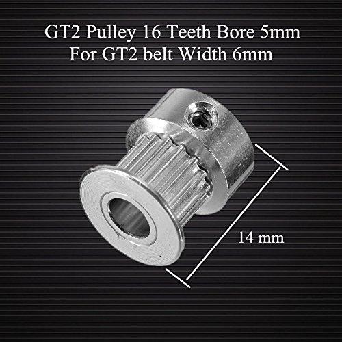 Doradus GT2 poulie 16 dents portaient 5mm alumium de pignon de distribution pour la largeur de bande GT2 6mm accessoires pour imprimantes 3D