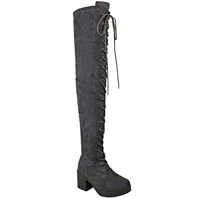 222c1cf405dd Amazon.com | Fashion Thirsty Womens Over The Knee Boots Lace Up Block Heel Thigh  High Goth Biker Size | Over-the-Knee