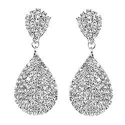 Rhinestone Crystals Gold Or Silver Teardrop Dangle Earrings Statement Chandelier Long Drop Earrings For Women Wedding Bridal Prom Debut Party Clip On Earrings And Pierced Earrings Silver Clip On